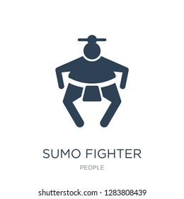 sumo fighter icon vector on white background, sumo fighter trendy filled icons from People collection, sumo fighter vector illustration
