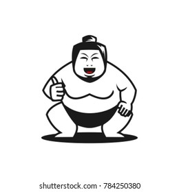 sumo held up his thumb, Flat character. Sumo wrestler