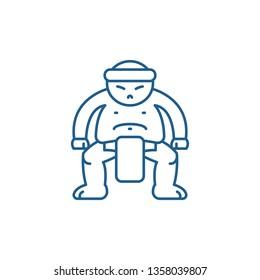 Sumo line icon concept. Sumo flat  vector symbol, sign, outline illustration.
