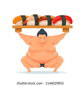 Sumo man holding a tray with sushi. Illustration traditional asian Japanese food. Design for advertisement, decoration, menu. Vector isolated on white.