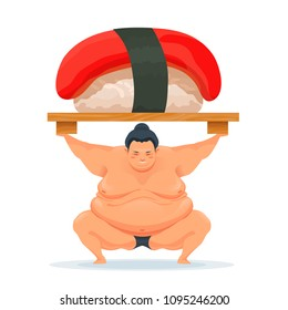 Sumo man holding a tray with tuna sushi. Illustration of the traditional asian Japanese food. Design for advertisement, decoration, menu. Vector isolated on white.