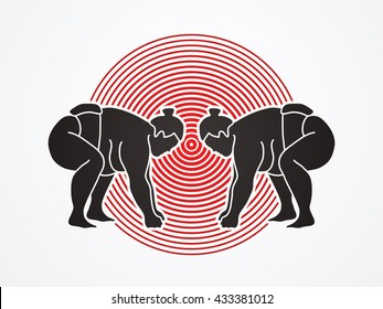 Sumo prepare to fight designed on red cycle background graphic vector.