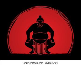 Sumo silhouette, designed on sunrise background graphic vector.