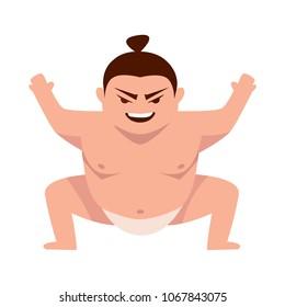 Sumo wrestler flat character. Vector image