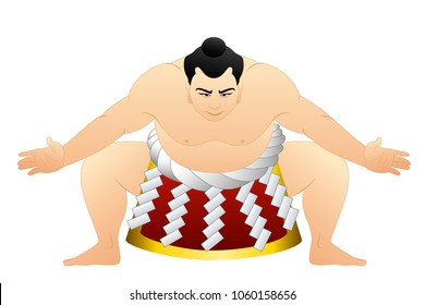 Sumo wrestler flat.Japan traditional graphic vector