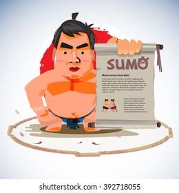 sumo wrestler holding old vintage paper roll for presenting. traditional concept - vector illustration