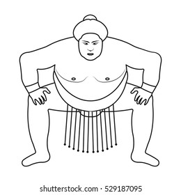 Sumo wrestler icon in outline style isolated on white background. Japan symbol stock vector illustration.