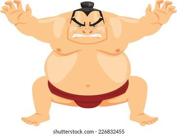 Sumo Wrestler Japanese Martial Art, vector illustration cartoon.