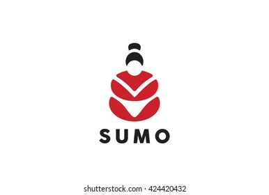 Sumo wrestler Logo Japan culture abstract design vector template Negative space. Traditional Symbol for Japanese cuisine sushi roll Logotype concept icon