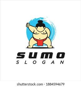 Sumo wrestler Logo sign. Fat, overweight man. Traditional sport of Japan. Branding Identity Corporate vector logo design Flat Style