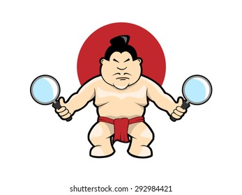 Sumo wrestler with magnifiers vector