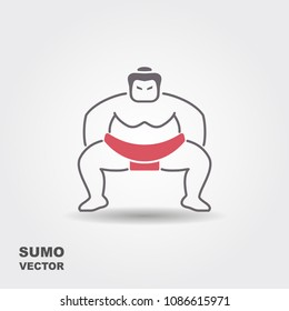 Sumo wrestler. Stylized simple icon. Vector illustration