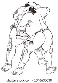 Sumo wrestling part 1 black and white