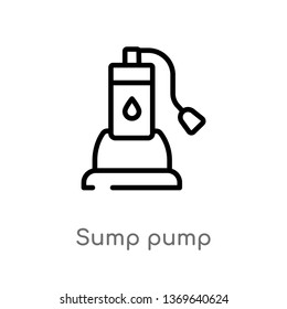 sump pump vector line icon. Simple element illustration. sump pump outline icon from furniture and household concept. Can be used for web and mobile