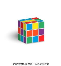 Sumy, Ukraine - 02.26.2021: Rubik cube unsolved puzzle 3d isometric shape vector illustration isolated on white background.