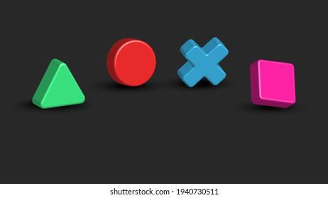 Sumy, Ukraine - 03 22 21: Game console joystick colorful symbols square, triangle, circle, cross isometric 3d geometric shapes with shadows, horizontal dark background