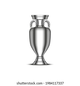 Sumy, Ukraine - 06 02 2021: UEFA European Championship cup, football sports trophy realistic vector 3d model isolated on white background