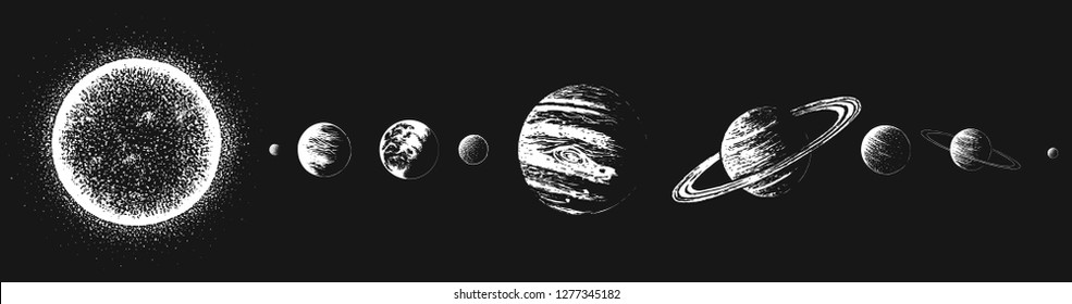 Sun and all planets of Solar system.Hand drawn style.Astronomy design.Vector image