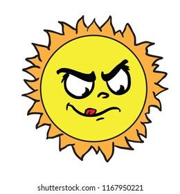 sun angry cartoon illustration isolated on white