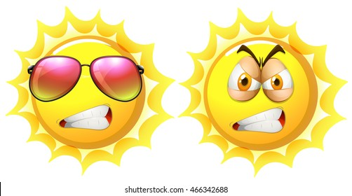 Sun with angry face illustration