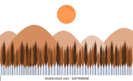 The sun in an arid environment surrounded by mountains. A dry pine forest beside the lake.