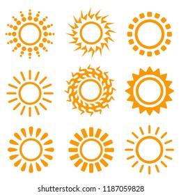 sun art deco vector collection, sun weather logo design art isolated illustration on white background