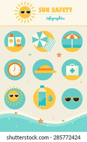 Sun and Beach Safety Rules Infographics Icons Set. Skin Protection and Health Care in Summer.