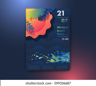 Sun, beach and sea poster design, summer party background, modern vector vertical A4 banner