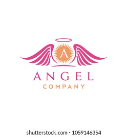 Sun and beauty Angel Wings logo design inspiration