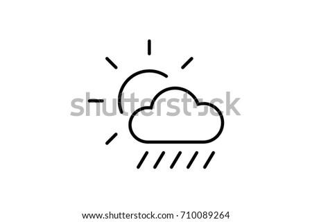 Sun Behind Cloud Vector Flat Pictograph Stock Vector (Royalty Free
