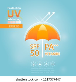 Sun Block or UV Protection and Whitening Vector for Skin care concept