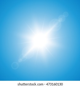 Sun and blue sky. Vector illustration.