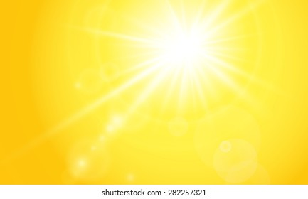 The sun is bright and orange background