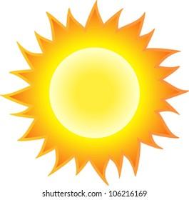 The sun burning like flame. Isolated on white background. Vector illustration