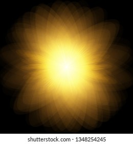 Sun, burst, explosion. Vector yellow sun with rays and glow on black background