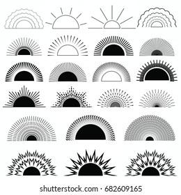 Sun burst, star burst and firework burst shapes, vintage logo, labels, badges elements, vector halftone elements in black color