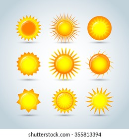 Sun burst star logo icons. Sun star, summer, nature, sky, summer.