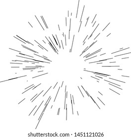 Sun burst, star burst sunshine. Radiating from the center of thin beams, lines. Design element for logo, signs. Dynamic style. Abstract explosion, speed motion lines from the middle, radiating sharp