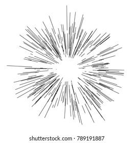 Sun burst, star burst sunshine. Radiating from the center of thin beams, lines. Vector illustration. Icon black on white. Design element for logo. Dynamic style. Abstract explosion, speed motion