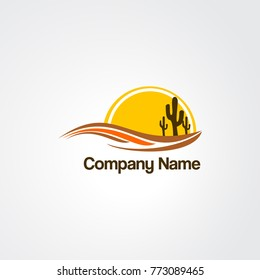 sun, cactus,  and lake element logo vector for business