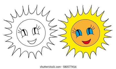 sun cartoon book coloring