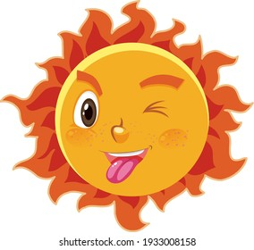 Sun cartoon character with naughty face expression on white background illustration
