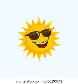 Sun Cartoon sunglasses happy face