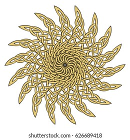 Sun in the Celtic style of ancient European ornament, isolated on white, vector illustration