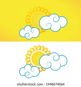 Sun and Cloud free vector design New year Sun vector Design