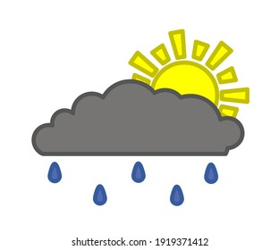 Sun and cloud on a white background. Symbol. Vector illustration.