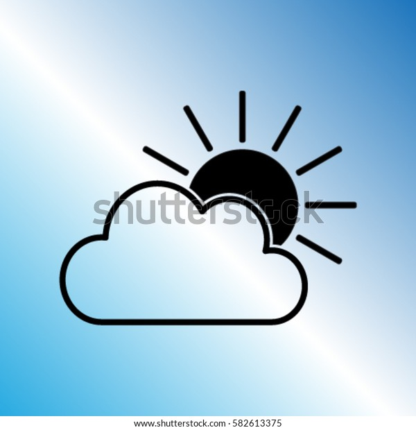 Sun and the cloud vector icon