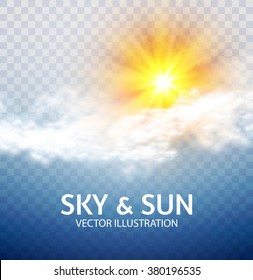 Sun & Cloud. Weather & Forecast Transparent Design. Vector illustration