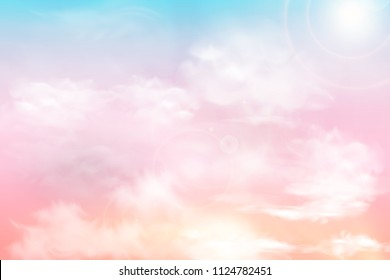 Sun and clouds background with a soft pastel color. Fantasy magical sunny sky pastel background with colorful cloudy sky, fluffy white cloud. Freedom concept. Vector illustration.