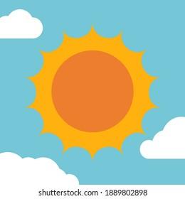 sun and clouds on sky cartoon background vector
